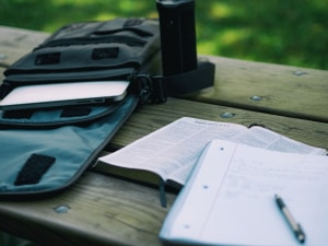 backpack, bible, notebook