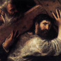 Eighth Station: Simon of Cyrene helps Jesus to carry the cross